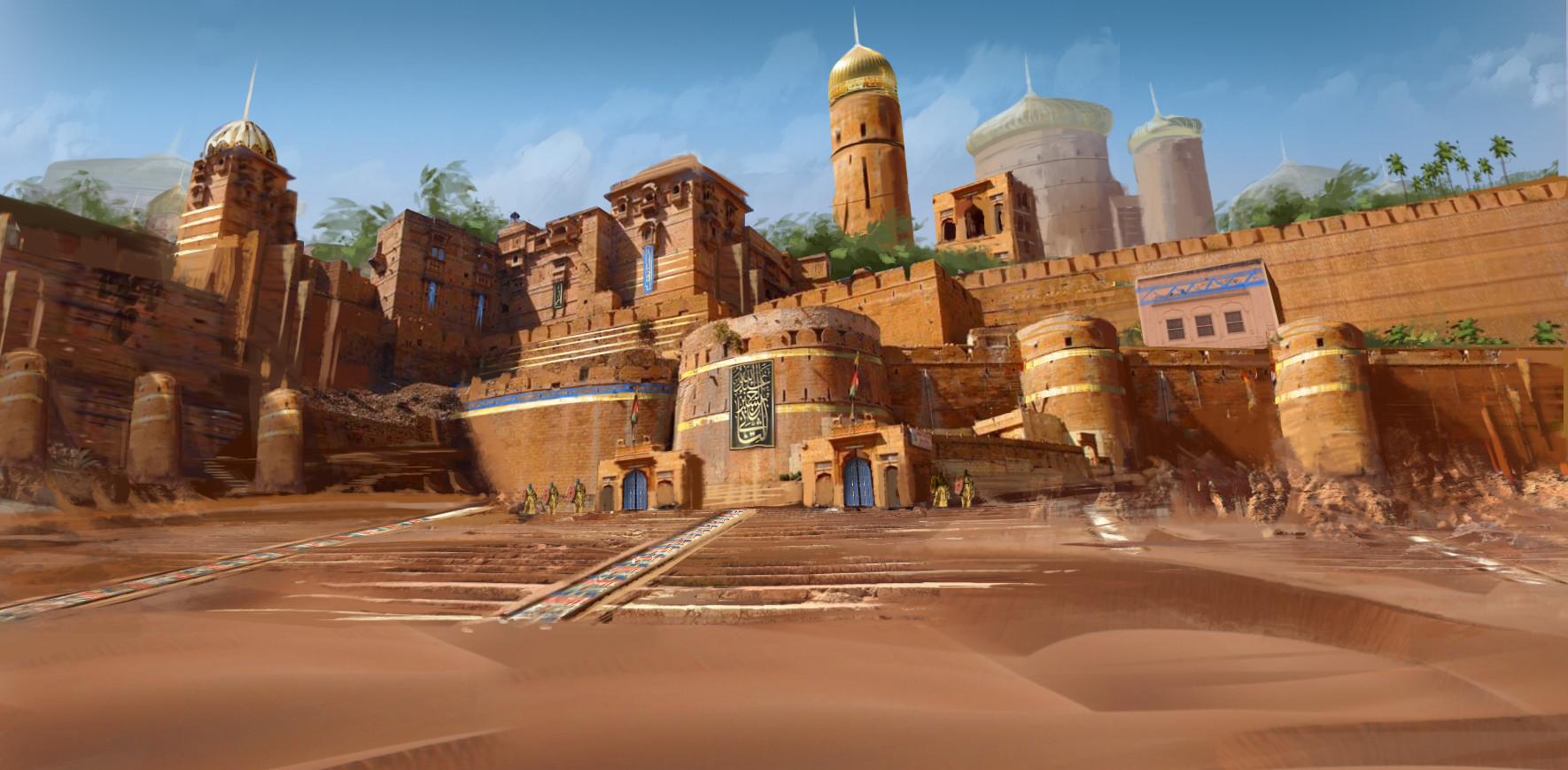 View City Desert Concept Art Background